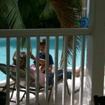 Jayne and Wyatt by the pool